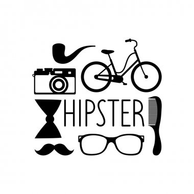 Hipster elements in flat style