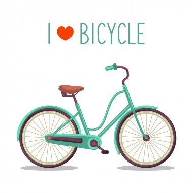 Vector illustration of urban hipster bicycle in trendy flat style with text I Love Bicycle stock vector