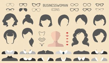 set of dress up constructor with different businesswomen