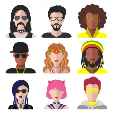 set of different subcultures man and woman