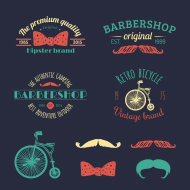 Set of vintage hipster logo