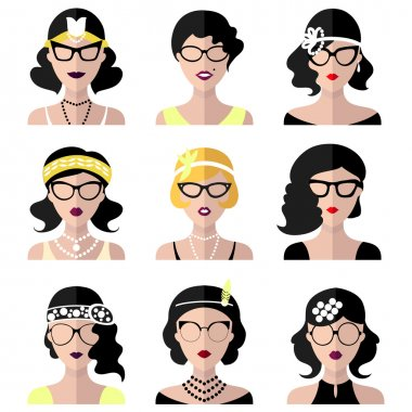 Set of different retro flapper girls