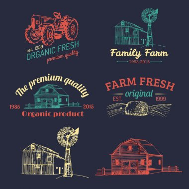 Retro set of farm fresh logotypes