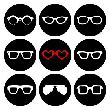 Big set of icons of different sunglasses