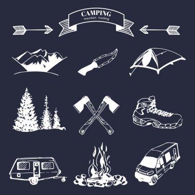 Set of vintage camping logo