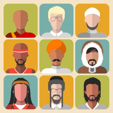 set of different nationality man icons