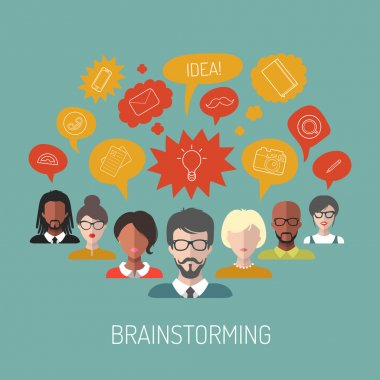 illustration of brainstorming with people and speech bubbles