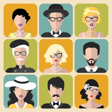 set of different retro flapper people