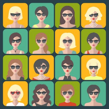 Set of different women app icons