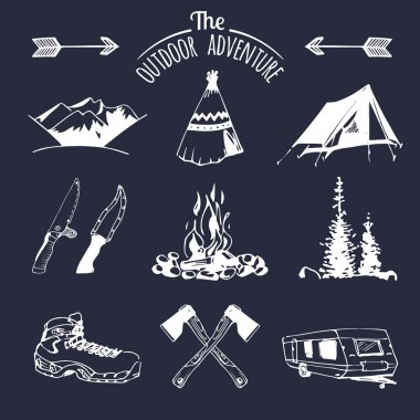 set of vintage camping logo elements