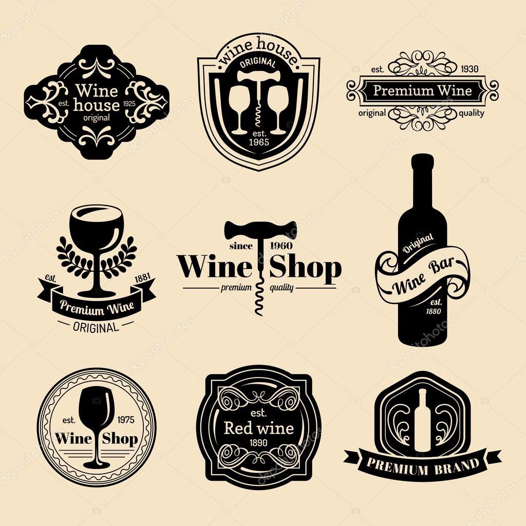 set of vintage wine logo � stock vector 169 vladayoung 70823815