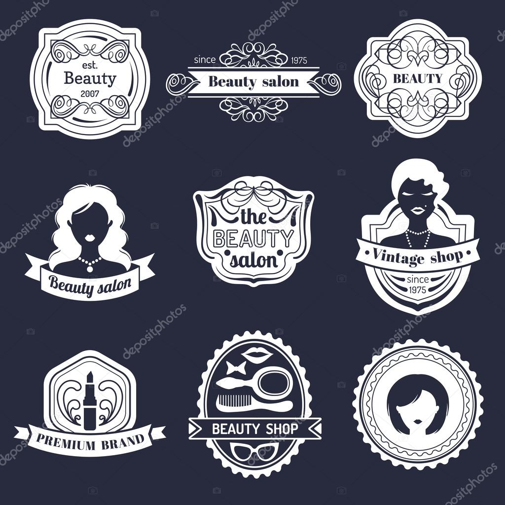 Vector Set Of Hipster Woman Logo Beauty Salon Or Vintage Shop Retro Logotypes Collection In Flat Style By Vladayoung