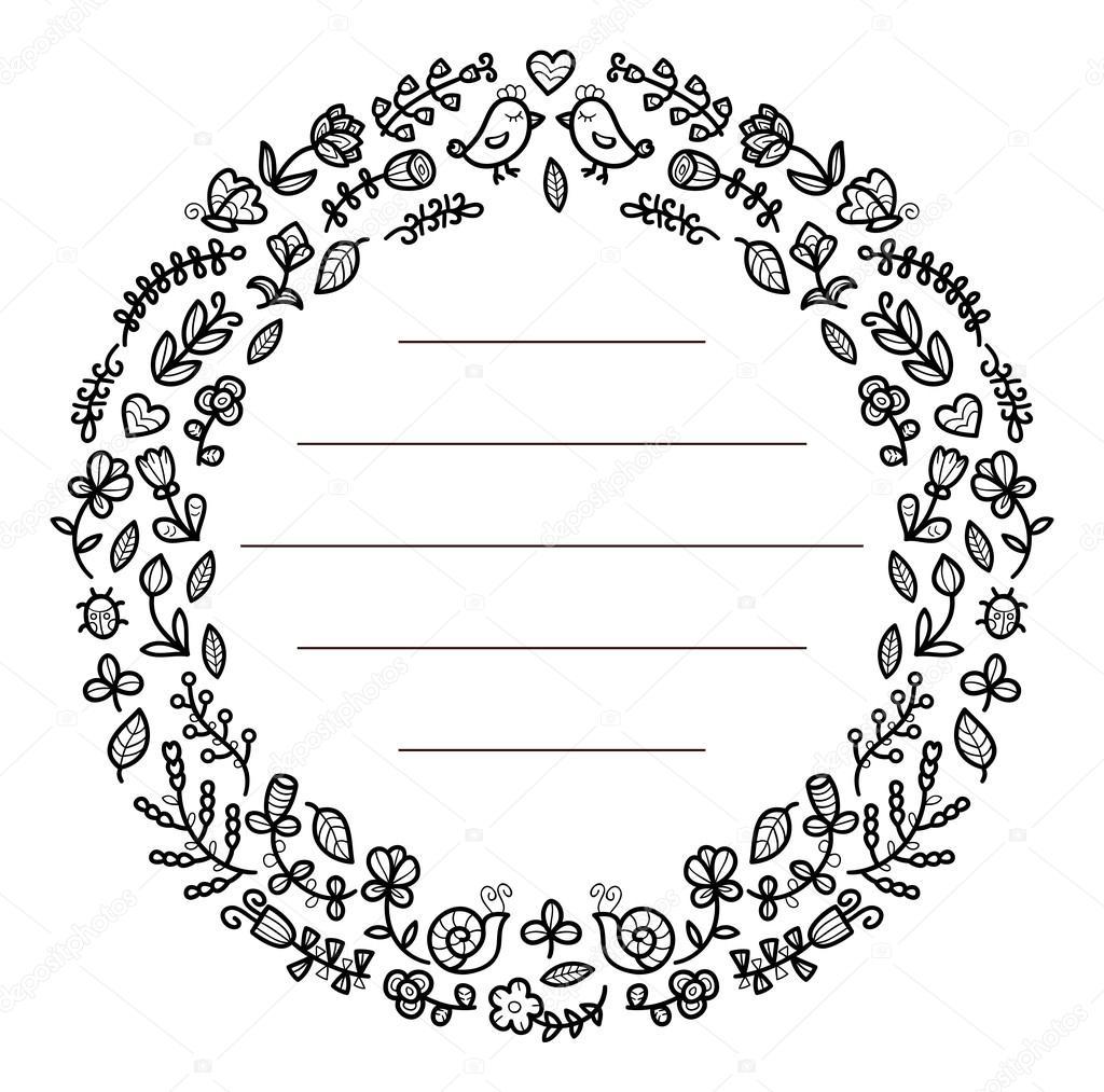 Marco Flores blanco y negro — Archivo Imágenes Vectoriales ...