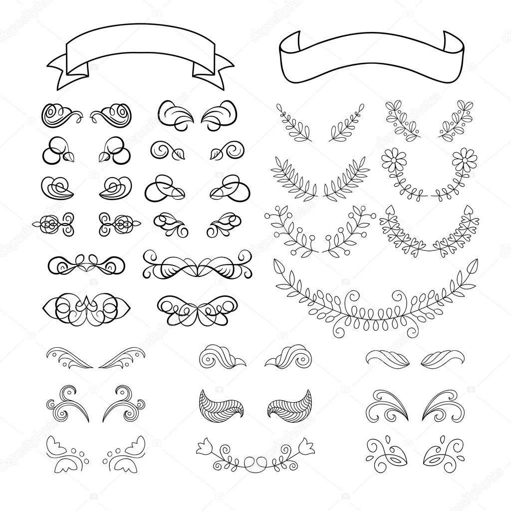 Set Of Calligraphy Page Decoration Elements Stock Vector