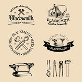 Set of hand sketched blacksmith logo