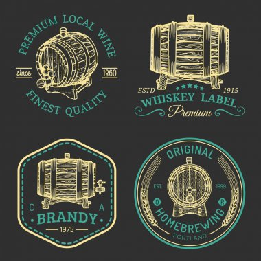 Alcohol logos. Wooden barrels set with alcohol drinks logotypes stock vector