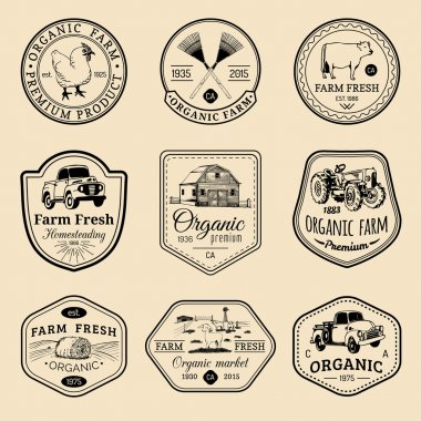 set of farm fresh logotypes.