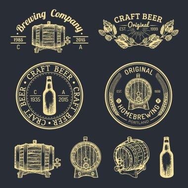 vintage brewery logo set.