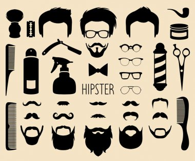 Hipster and  barbershop elements
