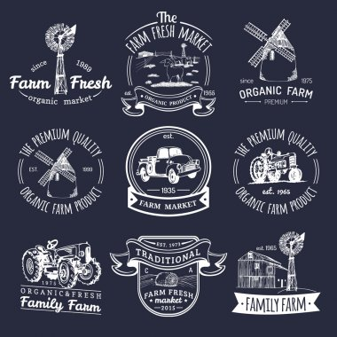 retro set of farm fresh logotypes.