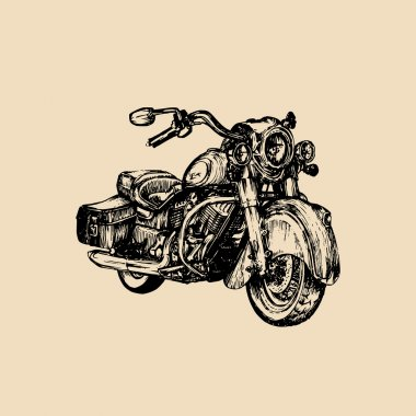 Retro hand sketched motorcycle