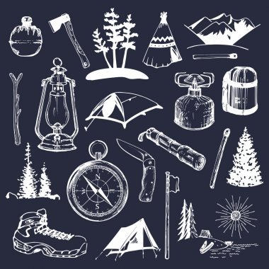 Camping logos. Camp logo set.