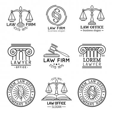 Law logos. Attorney signs.