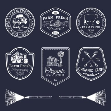 retro set of farm fresh logotypes.
