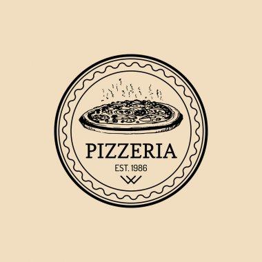vintage hipster italian food logo.