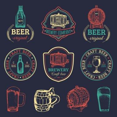 set of vintage brewery logos.