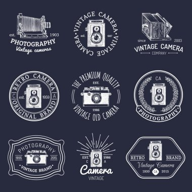 logotypes collection with retro photo camera
