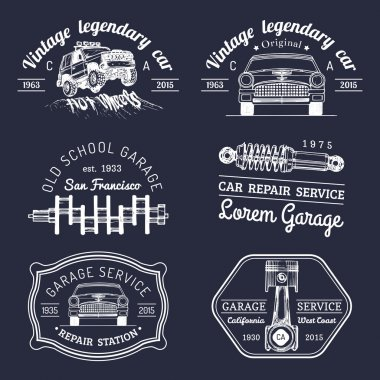 set of vintage garage logo.