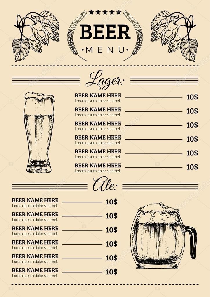Bier-Menü-Vorlage für Bar — Stockvektor © vladayoung #87204804