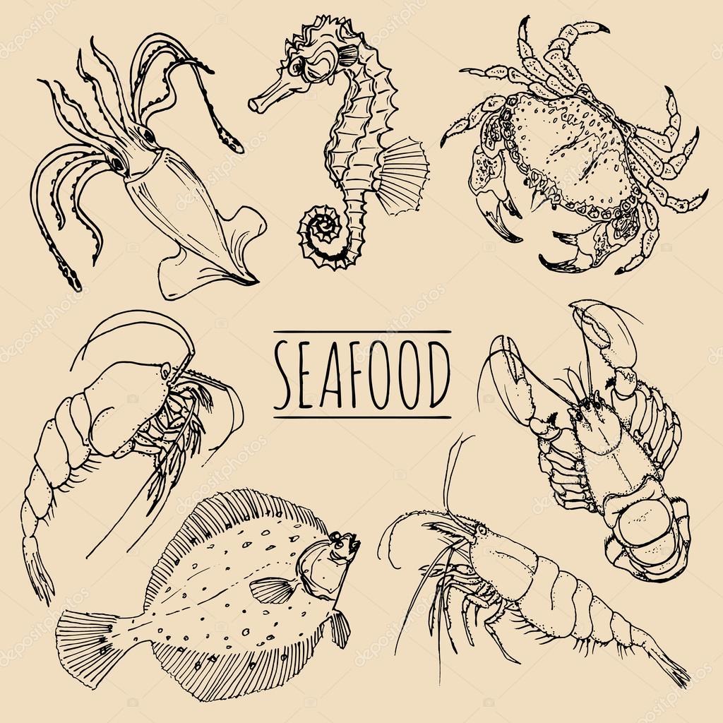 Vettore Sfondi Menu Mare Menu Di Pesce Sfondo Di Frutti Di Mare