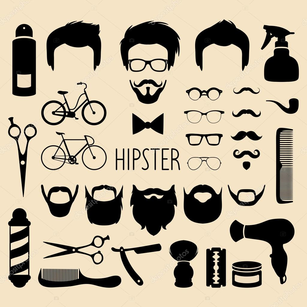 1079c1c7787 Big vector set of dress up constructor with different men hipster– stock  illustration