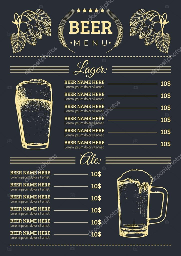 beer menu design template stock vector  u00a9 vladayoung wings vector images wings victory grill