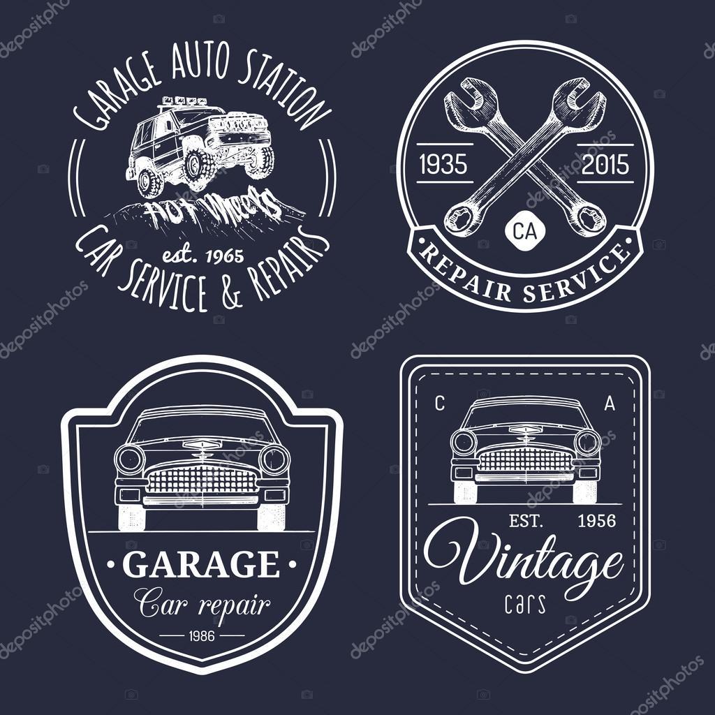 ensemble du logo vintage garage � image vectorielle