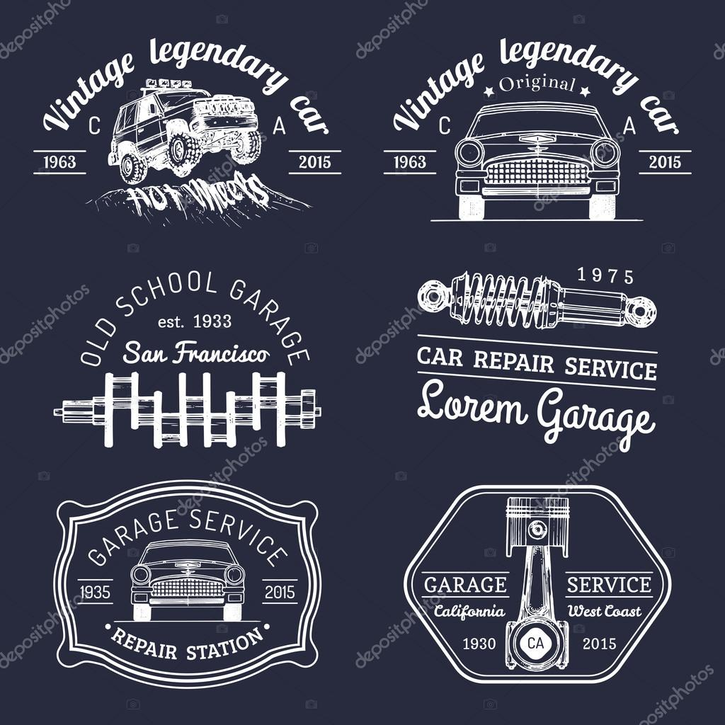 conjunto de logotipo vintage garagem � vetor de stock