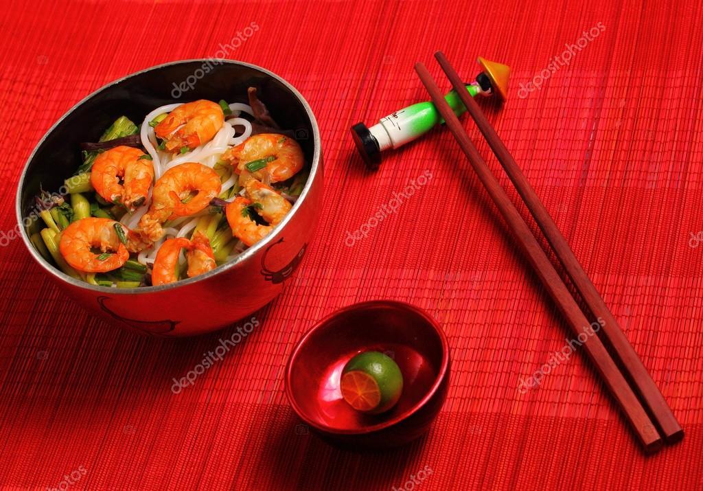 Vietnamese shrimp pho soup — Stock Photo © awesomeaki #71383743