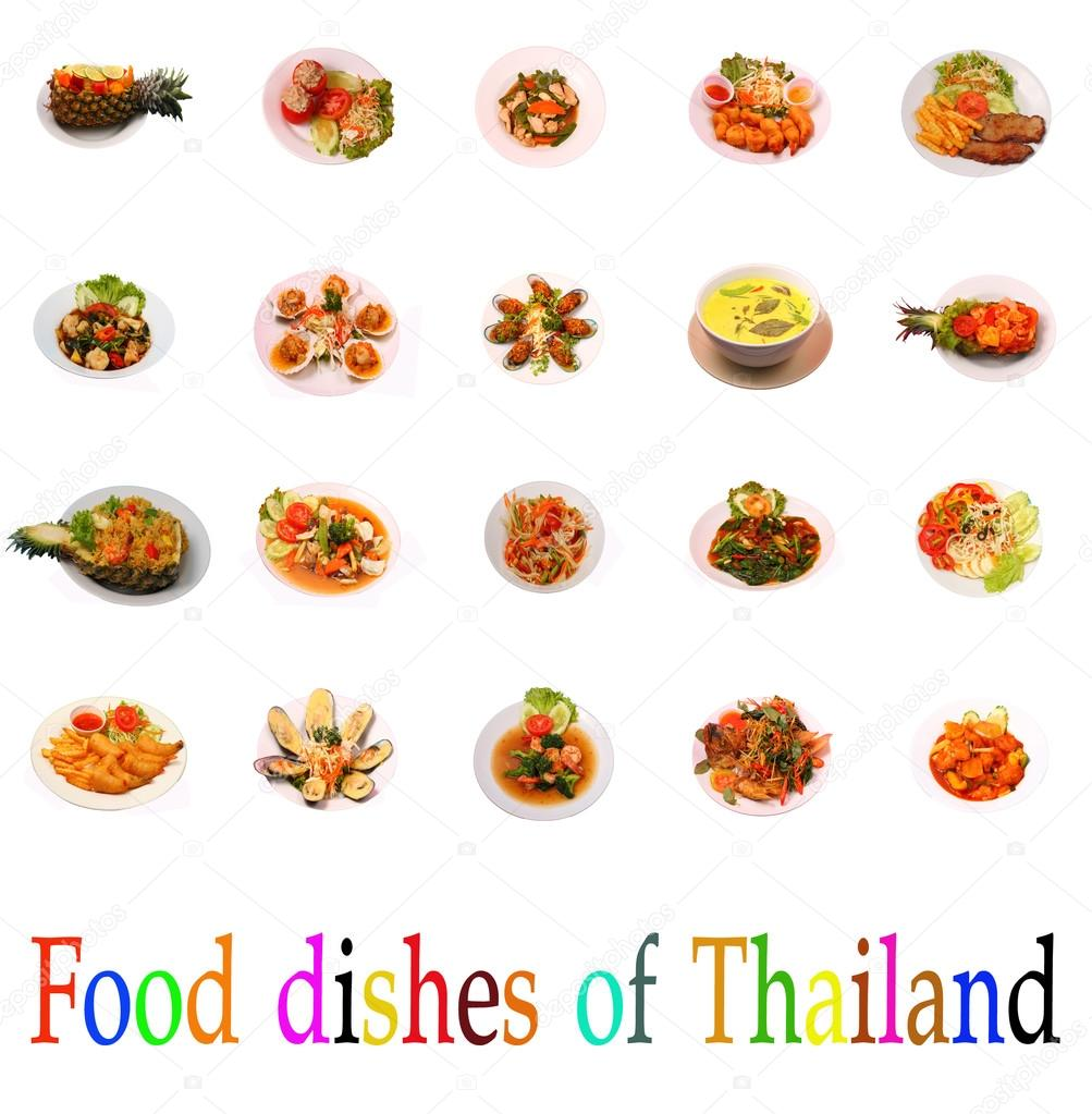 isolated thai food group of dishes