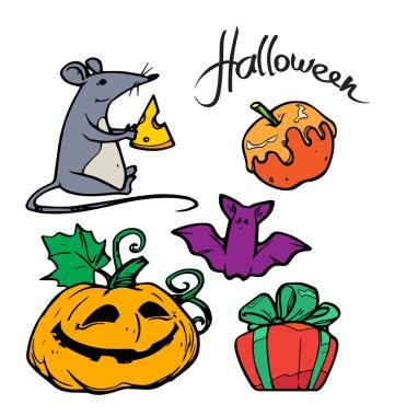 Halloween expression vector illustration icon set