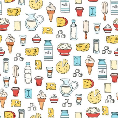 Vector seamless pattern with hand drawn colored dairy products,