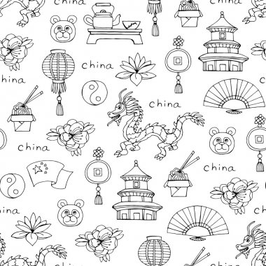 Vector seamless pattern with hand drawn isolated symbols of Chin