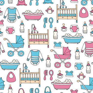 Vector seamless pattern with hand drawn colored symbols of baby