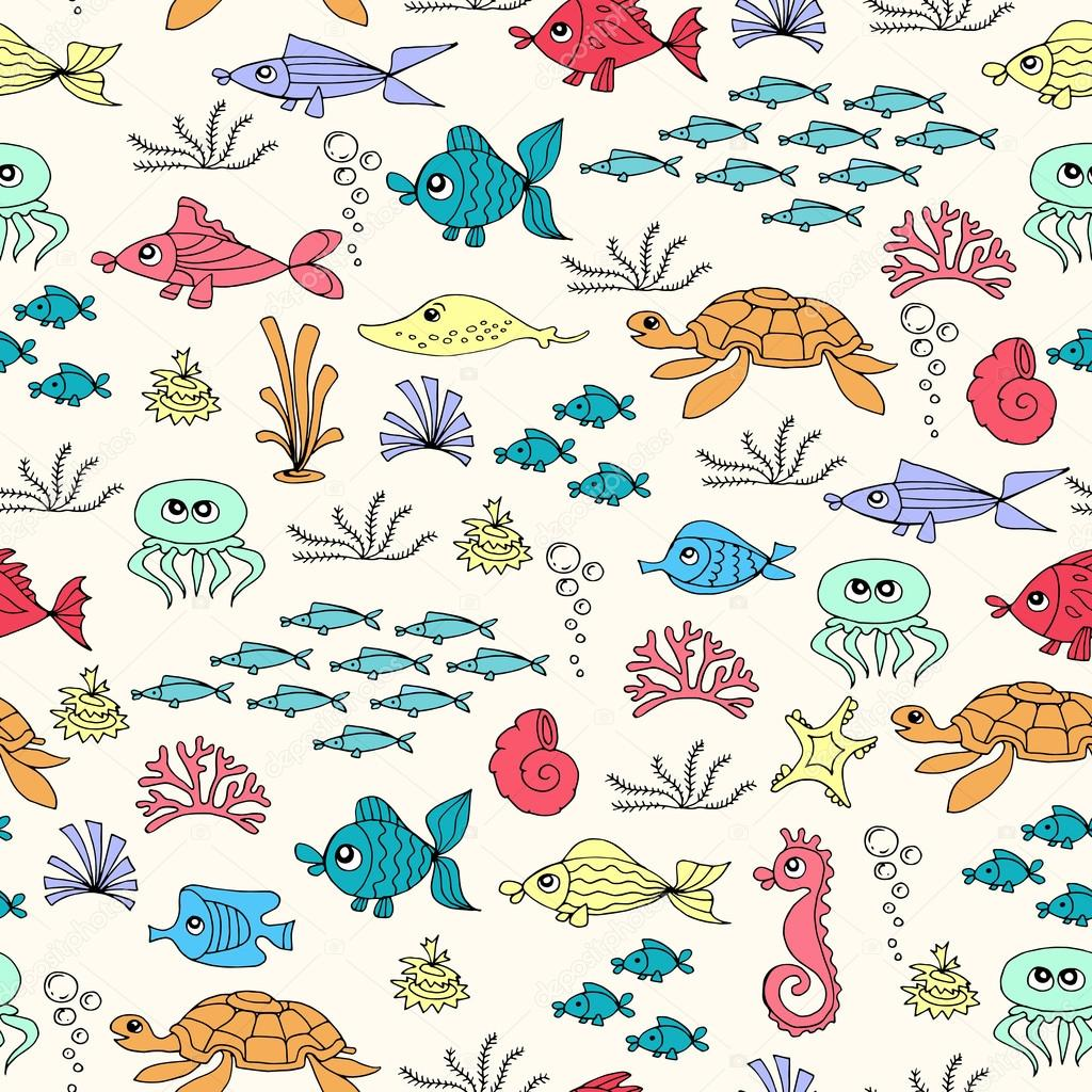 Vector seamless pattern with hand drawn colored fish