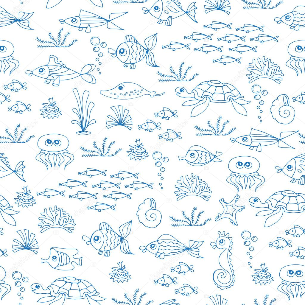 Vector seamless pattern with hand drawn fish on white color