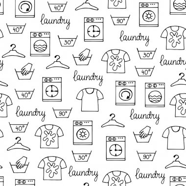 Vector seamless hand drawn pattern with hand drawn isolated symb