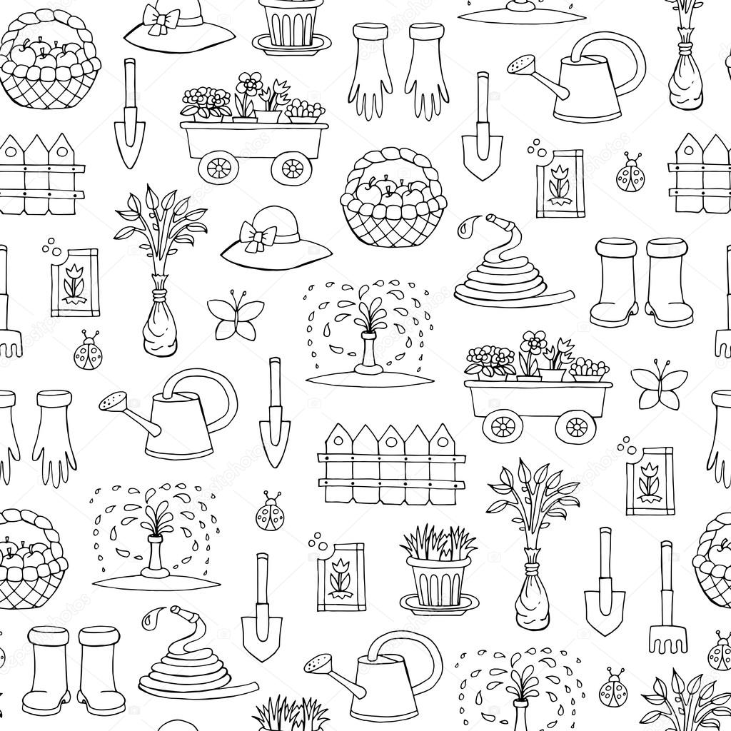 Vector seamless pattern with hand drawn isolated symbols of gard