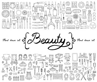 Vector set with hand drawn isolated doodles of cosmetics and symbols of beauty. Sketches for use in design