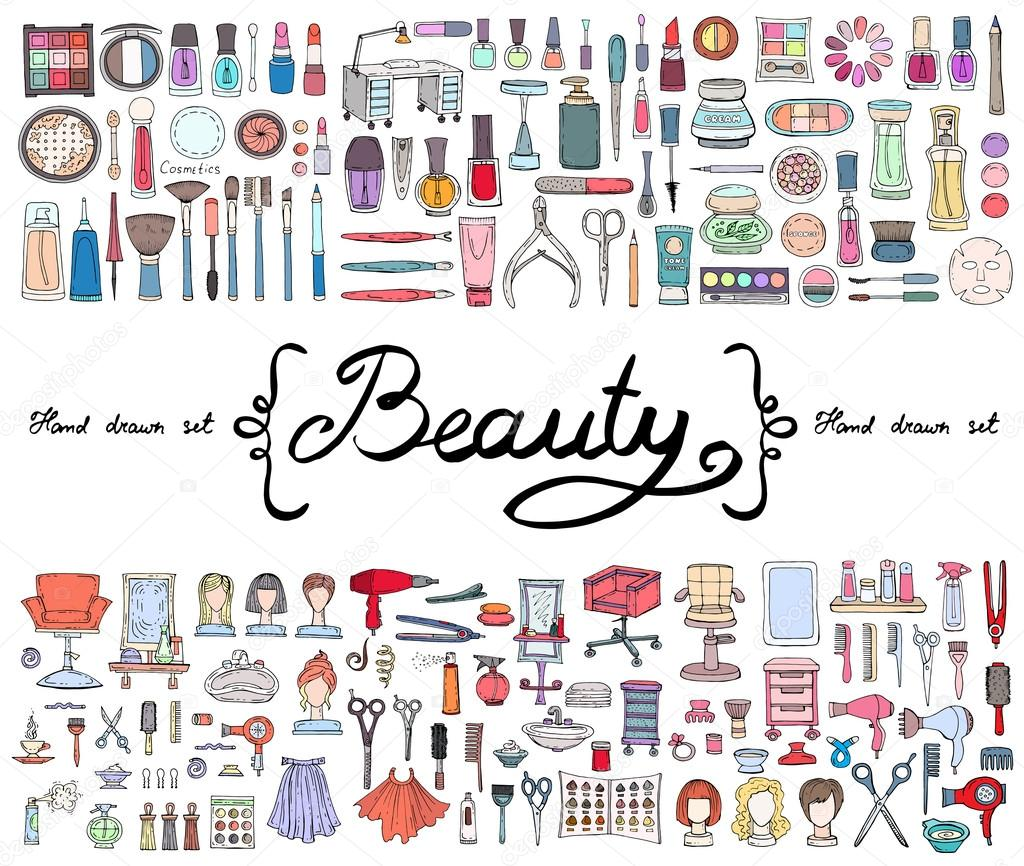 Vector Set With Hand Drawn Colored Doodles Of Cosmetics And Symbols